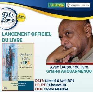 3ème fête du livre de Porto – Novo: Retour  sur le lancement de Quelques clés d'Ifa  de Gratien Ahouanmènou